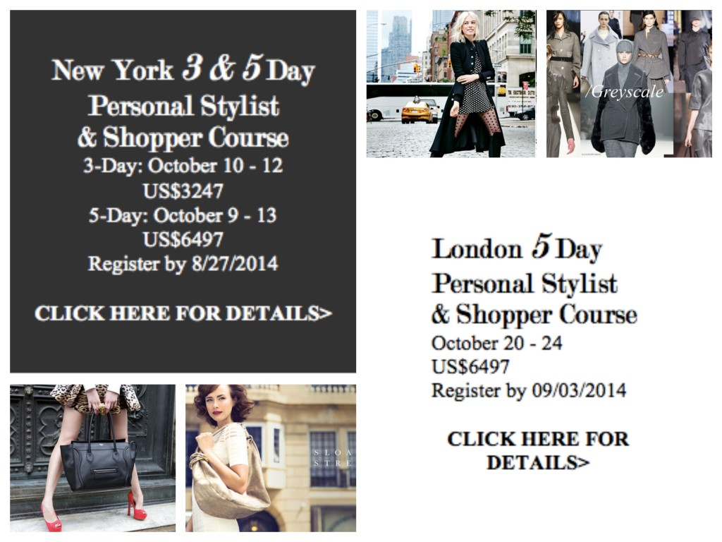 October 2014 NY & London Sterling Style Academy Schedule