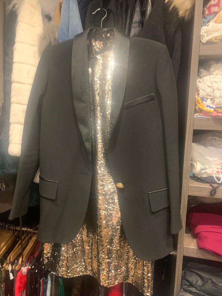 Balmain and Gold Sequins Dress Holiday 2019