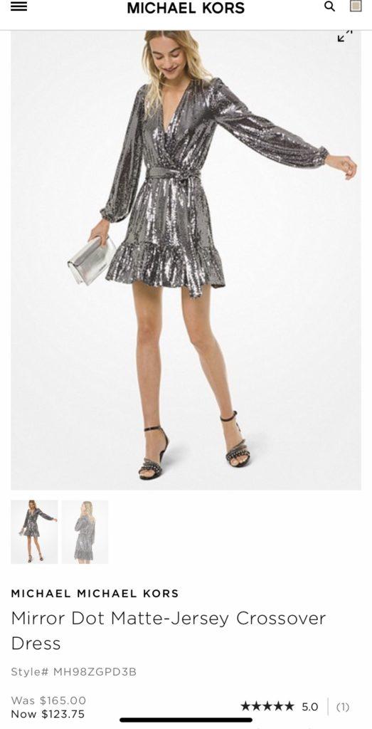 Michael Kor Mirror Dot Matte Jersey Crossover Dress